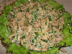 Салаты изговяжьей икуриной печени— новые блюда напраздничный стол